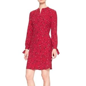 Banana Republic Red Floral Shirt Dress
